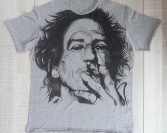 Hand Painted T-shirt / Keith Richards / Handmade Tshirt / Rolling Stones