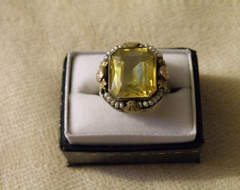 Art Nouveau 14K Gold Citrine and Seed Pearl Ring - Citrine 5.60 ctw and Size 5 1/2 US