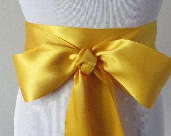 Deep Yellow Satin Ribbon Sash / Ribbon Sash / Satin Bridal Sash /  Bridesmaid Sash /