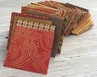 Handmade Mini Envelopes -  all autumn colors  2.25 inch square self sealing pack of 10