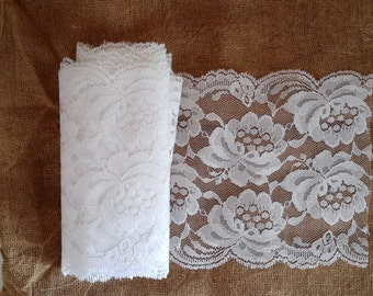Vintage lace, wide lace, white, sewing supply, trims, wedding decor, DIY wedding, shower decor, shabby country,