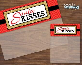 Santa Kisses Bag Toppers, DIY Christmas Treat Bag Editable Labels, INSTANT DOWNLOAD printable digital file