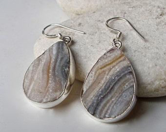 Unique Druzy Earring- Statement Dangle Earring- Silver Druzy Earring- Pear Shape Earring- Muted Beige Gemstone Earring-