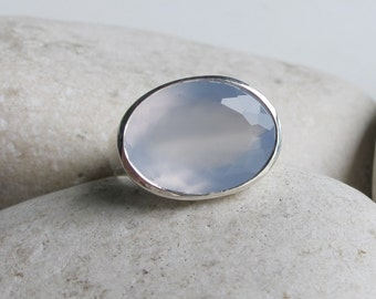 Blue Engagement Ring- Something Blue Promise Ring- East West Chalcedony Ring- Unique Statement Ring- Simple Solitaire Ring