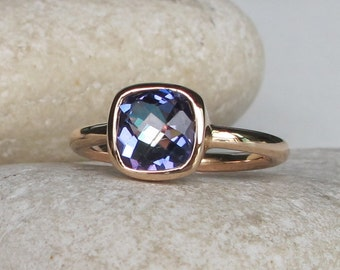 Mystic Topaz Ring- Silver Topaz Ring- Rainbow Ring- Gifts for her- Quartz Ring- Stack Ring- Stacking Ring- Stack Gemstone Ring- Square Ring