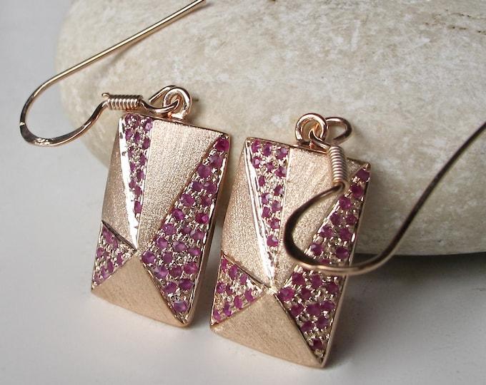 Ruby Earrings- Sapphire Earrings- Statement Earrings- Geometric Earrings- Minimalist Earrings- Birthstone Earrings- Square Earrings