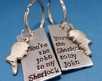 Sherlock Inspired - Watson To My Sherlock or Sherlock to my Watson - CHOOSE ONE Hand Stamped Aluminum Keychains