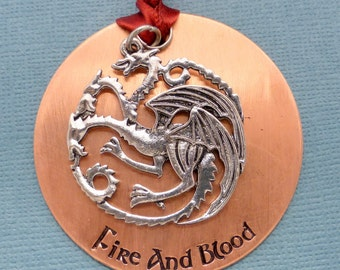 Game of Thrones Inspired - Fire and Blood - A Hand Stamped Ornament