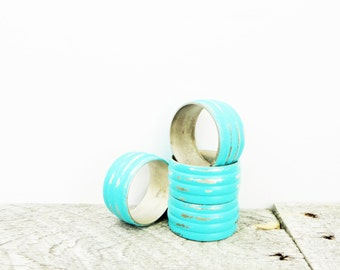 Turquoise Napkin Rings - 4 - Industrial Chic Dining Room - Painted Metal Napkin Holders
