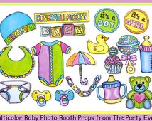 cute baby photo booth props multicolor - perfect for a baby shower or a welcome party for your bundle of joy