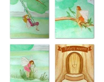 Garden Fairies Nursery, Set of 4 Art Prints for Children Room Decor, Nursery wall art, Kids baby decor, Nursery Decor, Kids wall art