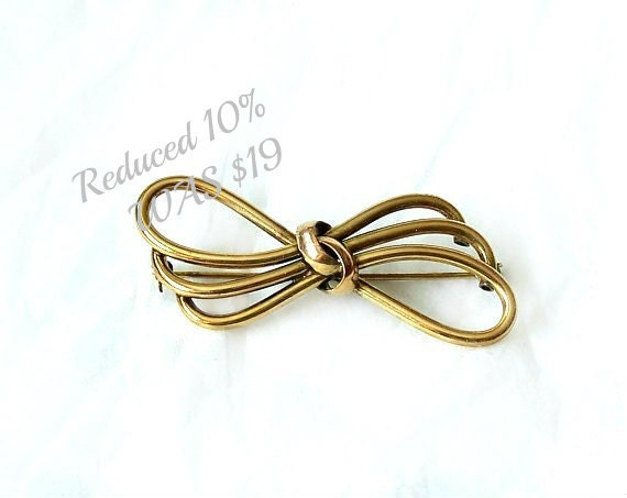 Vintage Gold Triple Bow Brooch Andreas Daub