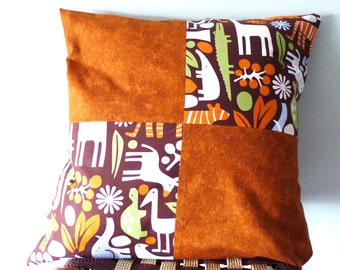Jungle cushion cover, 16by16 cushion cover, square cushion, patchwork cushion cover, nursery decor, sale