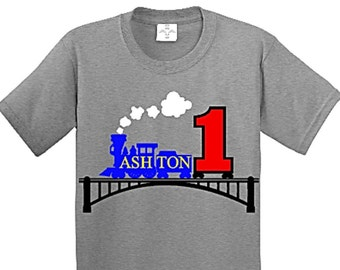 Train Birthday, Train Birthday Shirt, Train Party, Train Shirt, First Birthday Boy, Personalized Shirt, First Birthday, First Birthday Shirt