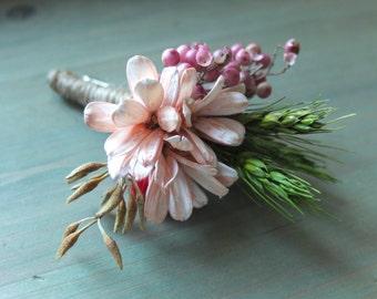 Rustic Boutonniere, Pink Flower & Wheat Boutonniere, groomsman Boutonniere