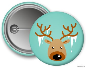 Winter Moose // Great For Stocking Stuffers or Kids Holiday Parties // Pin Back Button