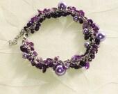 Amethyst & Purple Jade Bracelet Handmade Jewelry February Birthstone
