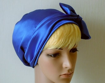 Royal Blue Satin Head Covering, Silky Tichel, Satin Sleeping Bonnet, Natural Hair Wrap, Bad Hair Day Scarf, Chemo Hats, Satin Hair Bonnet