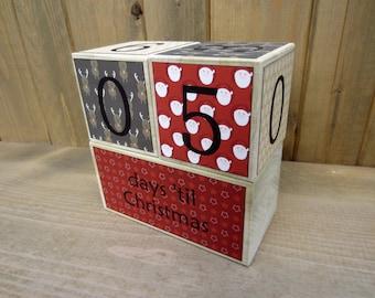 Christmas Countdown Blocks - red, brown - days 'til Christmas