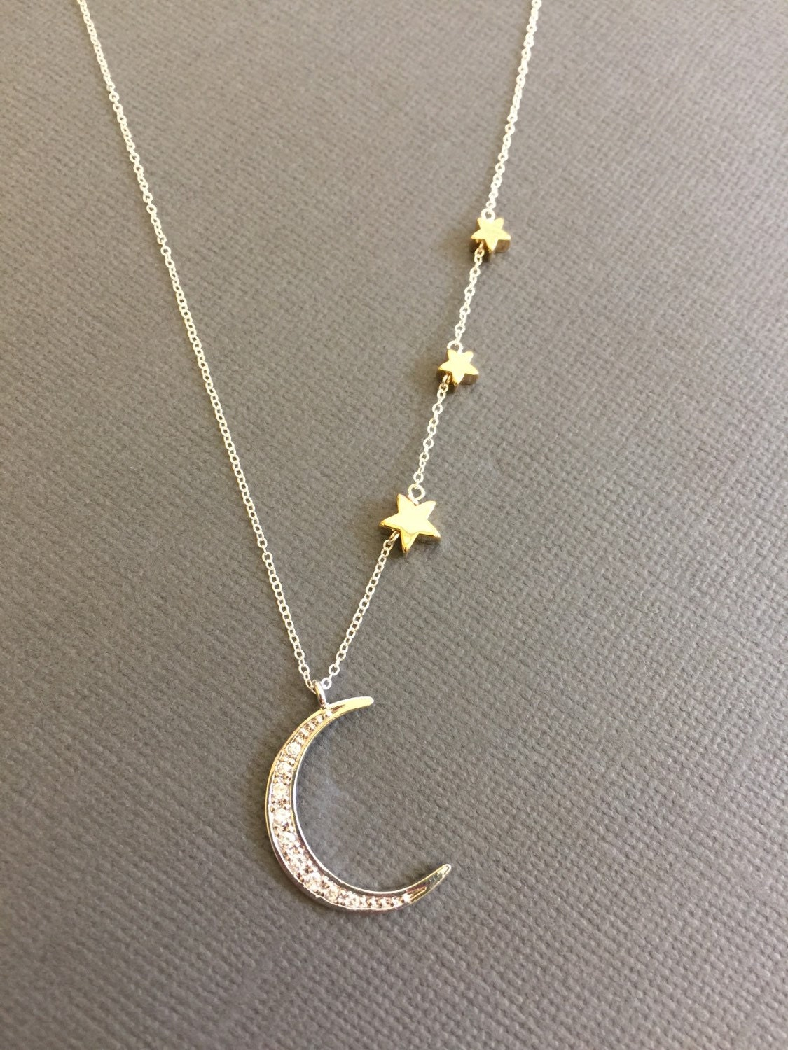 Crescent Moon necklace Star necklace two tone necklace by ...