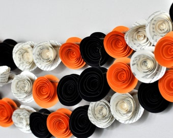 Fall Garland Halloween Garland paper flower garland orange,black and book pages