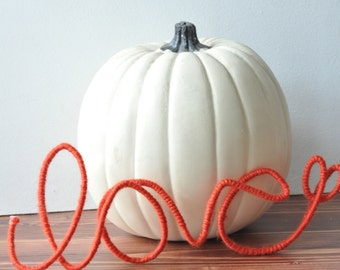 Love yarn word-  Orange Wire Word-- Photo Prop- Engagement Party- Thanksgiving decor