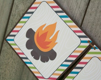"""Camping Birthday Printable Banner, """"Happy Birthday"""" Camping Campfire Banner, INSTANT DOWNLOAD"""