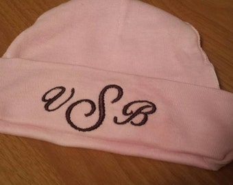 Monogram baby hat, custom embroidered beanie (pink, blue, white options)