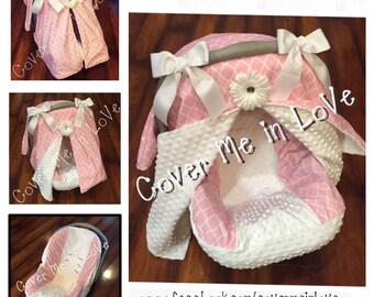 Pink and white lattice and white minky Car seat canopy and seat cover set
