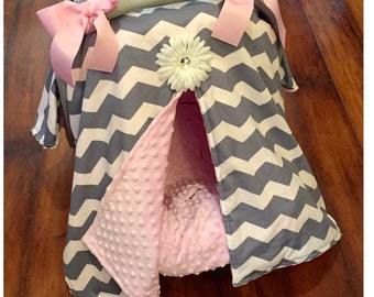 Grey chevron and pink minky Car seat canopy