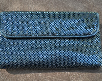 Vintage Whiting and Davis Black Mesh Wallet with Kisslock Coin Purse