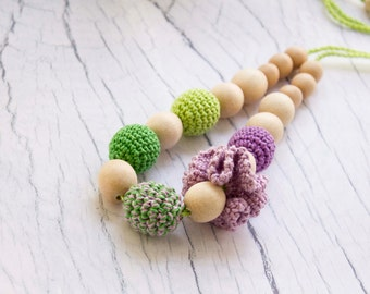 Violet/Green Crochet Nursing Necklace- Breastfeeding Necklace- Necklace for Mum and Baby