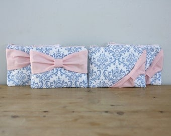 Bridesmaid Gift Set / Bachelorette Favors - French Blue Damask Light Pink Bow - Customizable Cosmetic Cases - Choose Quantity and Bow Style