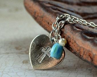 Cross Cutout Heart Silver Necklace Christian Feminine Pearl Blue Chevron Boho Fashion Jewelry Valentine's Day Paisley Beading FREE Shipping