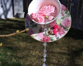 Pink Roses Sun Catcher Teacup and Saucer Crystal Mobile Whimsical Hanging Decor