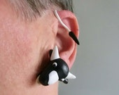 One single cow adjustable ear wrap earrings/ polymer clay head and tail with plastic iron wire in between/ make them your own size