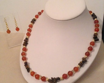 Red Agate, citrine and tigers eye necklace and earrings set