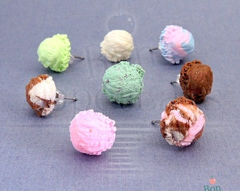 Ice Cream Earrings, Fake Food Earrings, Miniature Food, Polymer Clay Jewelry, Small Post Earrings, Nickle Free Earrings