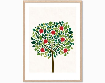 TREE | Pomegranate Poster : Modern Illustration Retro Art Wall Decor Print
