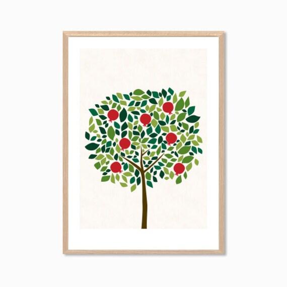 TREE | Pomegranate Poster : Modern Illustration Retro Art Wall Decor Print