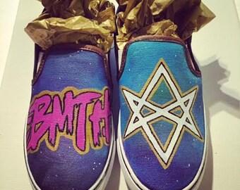 Custom Hand Painted Bring me the Horizon slip on shoes (NOT VANS BRAND)