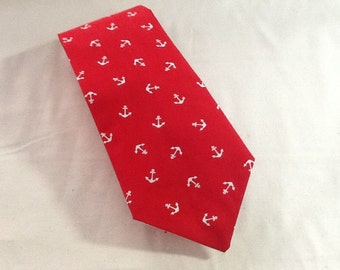 Red with Anchors Men's Necktie - Weddings, formal events - 100% Cotton Designer fabric