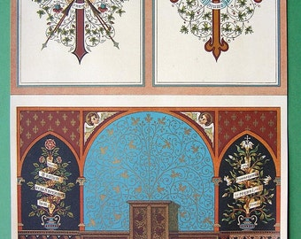 ARCHITECTURE Gothic Wall & Rosettes Ornaments Church Paintings - 1890s COLOR Fine Quality Original Litho Print