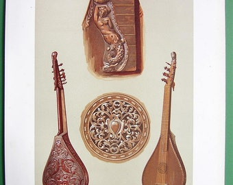 MUSICAL INSTRUMENTS Music Italian Cetera Cistre English Guitar - SCARCE 1888 Color Litho Print Original