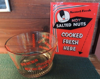 SALE - Vintage Ad Sign, Kernel Fresh Hot Roasted Nuts, Home movie theater, Great condition
