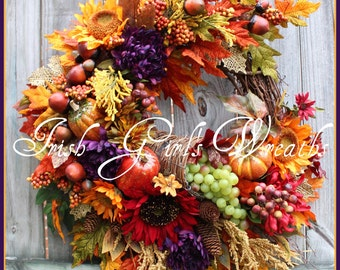 MADE TO ORDER - Elegant Autumn Bounty Thanksgiving cornucopia Large Fall Wreath, harvest, purple, pumpkins, red sunflower