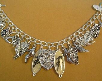 "7-1/2"" Shoe Shopping/Shoe Lovers Charm Bracelet - B025"