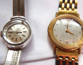 Lot of 2 Watches Jewelry Parts Swiss-20 RW Rolled Gold Bezel 20 Microns Nivada Les Supremes