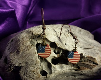 Earrings- The Perfect Patriotic Earrings, Red White and Blue Aged Wooden Dangle Antique Style Earrings
