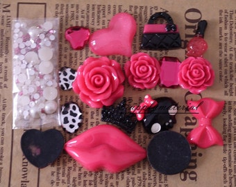 1set Hot Pink crystal pearl flowers Mixed material kit for Phone case deco